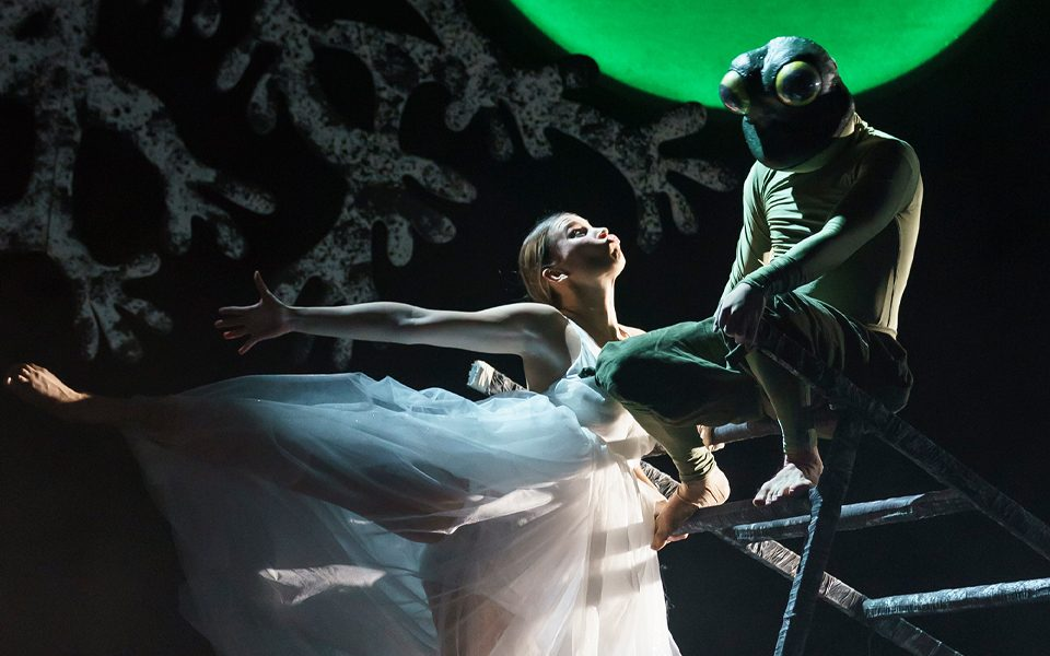 A ballet dancer performs in front of a frog under the light of a green moon