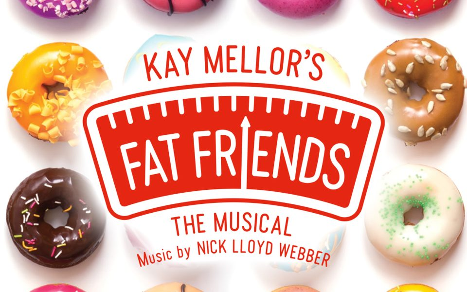 Fat Friends the Musical title treatment with a tray of tempting doughnuts in the background